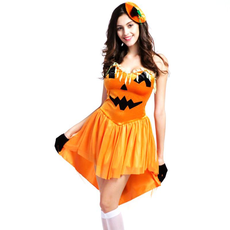 Sexy Pumpkin Halloween Costumes For Women Sissy Party -9851
