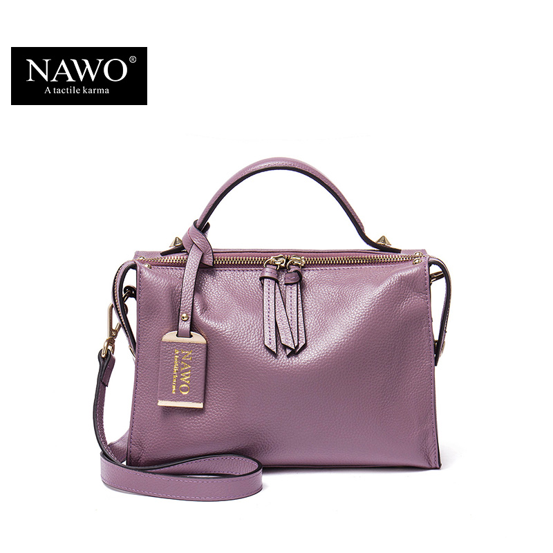 NAWO Zipper Women Genuine Leather Bag Women's Messenger Bags Tote Handbags Women Famous Brands High Quality Shoulder Bag Ladies luxury shoulder bag women famous brands small messenger bags for women pink bags ladies high quality genuine leather handbags