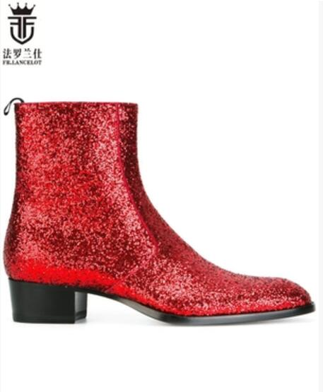2018 FR.LANCELOT fashion pointed toe men real leather boots british glitter men fashion boots zip mujer bota sequin red booties fr lancelot 2018 new arrival star boots men real leather boots glitter sequin leather booties zip up men party shoes