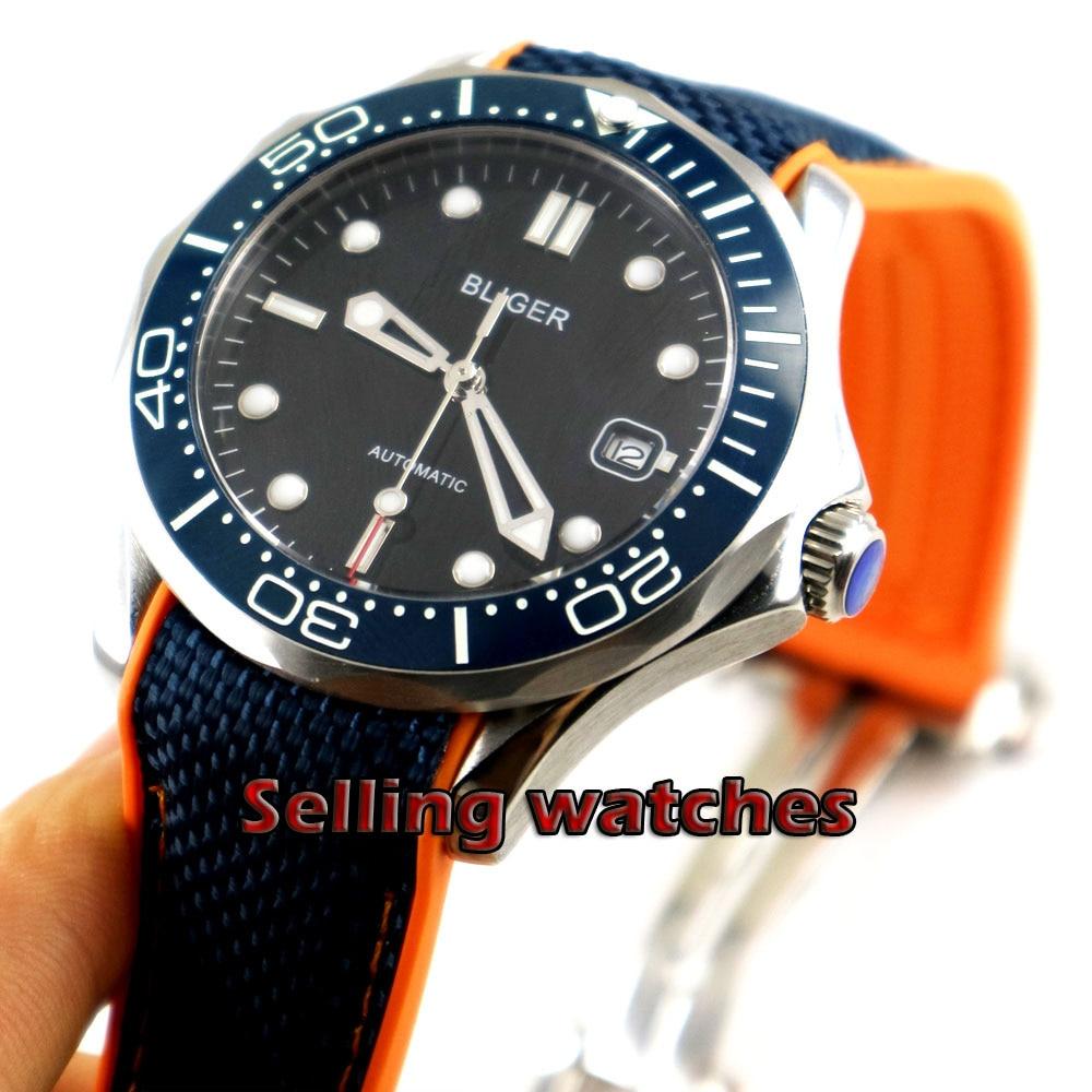 41mm bliger Black dial Rubber strap blue ceramic bezel sapphire glass date Mechanical automatic mens watch