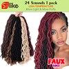 "24Root Curly Faux Locs Crochet Braiding hair 12"" 20""Soft Wavy Crochet Braid Hair Extension Crochet Faux Lock Wavy Dreadlock hair"