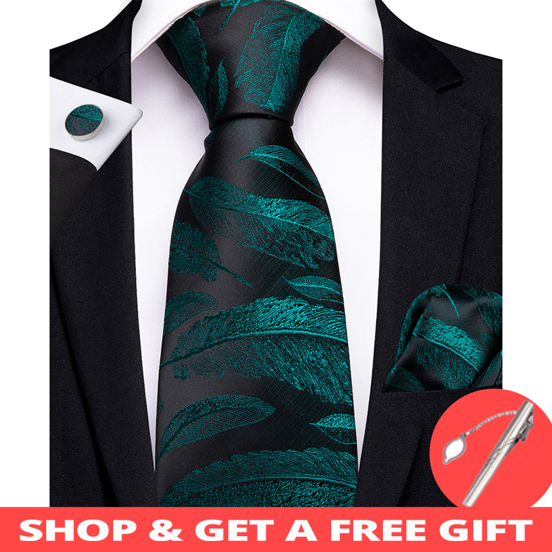 DiBanGu Novelty Green Black Men Gifts Tie Clip 100% Silk Tie For Men Hanky Cufflinks Tie Wedding Party Business Tie Set MJ-7193