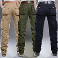 Ventas calientes Diseño Hombres Del Ejército Pantalones de Múltiples bolsillos de Algodón Poliéster Plus Proceso de Lavado Clásico Masculino Ocasional Que Desgasta MG94
