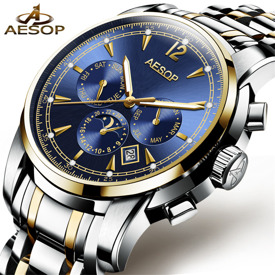 AESOP Automatic Watch Men Sapphire Blue Dial Business Mechanical Self Winding Watches Moon Phase Calendar Watch Reloj Hombre kinyued automatic watch men sapphire dial business mechanical self winding watches moon phase calendar reloj hombre with box