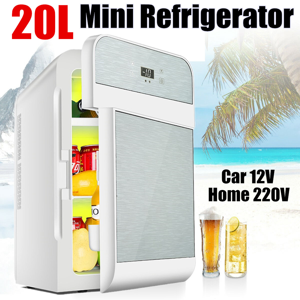20L Refrigerator Car Mini Refrigerator Single-core Dual-core Digital Display Camping Home Dormitory Dual-use Fridge 12V/220V