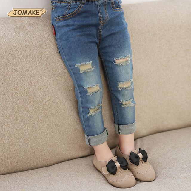 Varejo 2016 crianças calças Jeans meninos meninas outono calças desenhador de moda da menina do menino calças Jeans cinto Casual calça Jeans para 2 ~ 9 anos