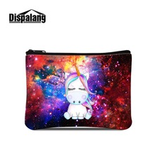 Dispalang Girl's Clutches Bags Cute Unicorn Animal Elements Prints on Mini Coin Purse Small Wallet Little Female Cosmetic Pouch недорого