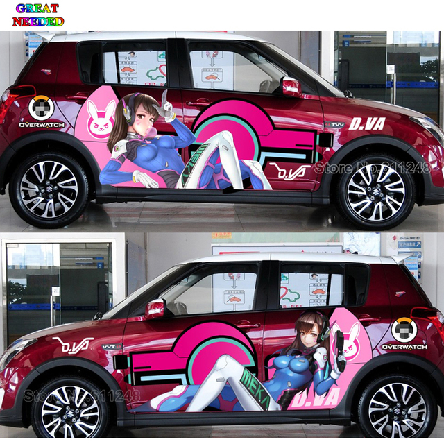 sur mesure japonais anime dva voiture porte autocollants overwatch dr le voiture de course decal. Black Bedroom Furniture Sets. Home Design Ideas
