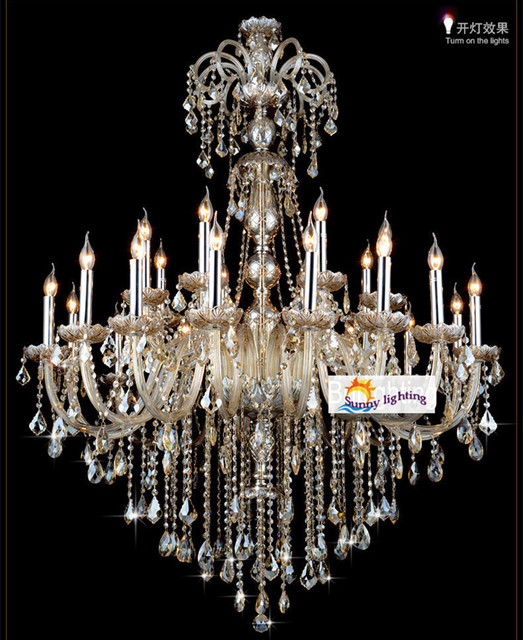 Extra Large Retro Cognac Crystal Light Chandeliers For Star Hotel Living Room High Ceiling Vintage Traditional