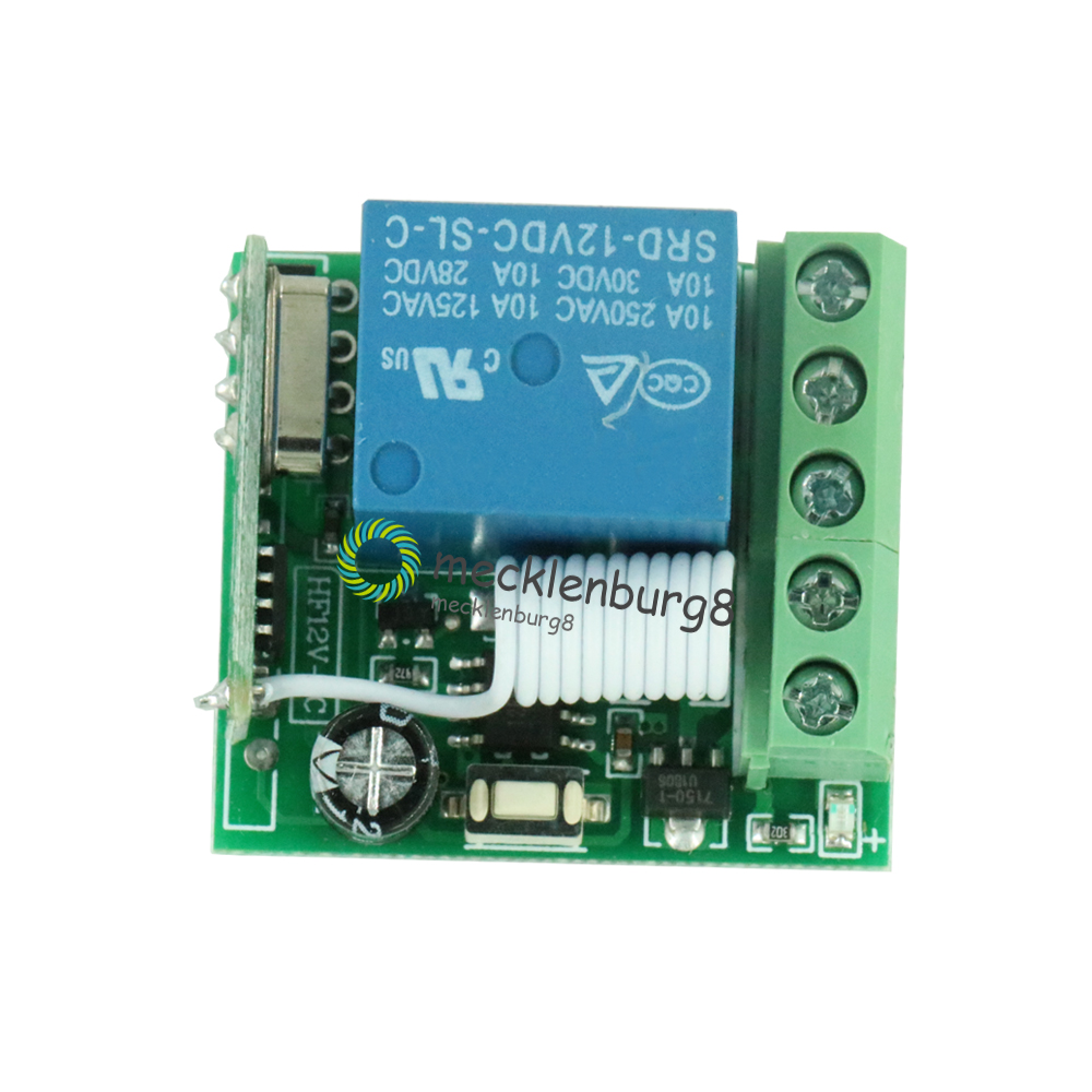 DC 12 V To 1 Channel 433 MHz Wireless Relay Module RF Remote Control Switch Oscillator Receiver Control Lehr Board MCU RF Freque