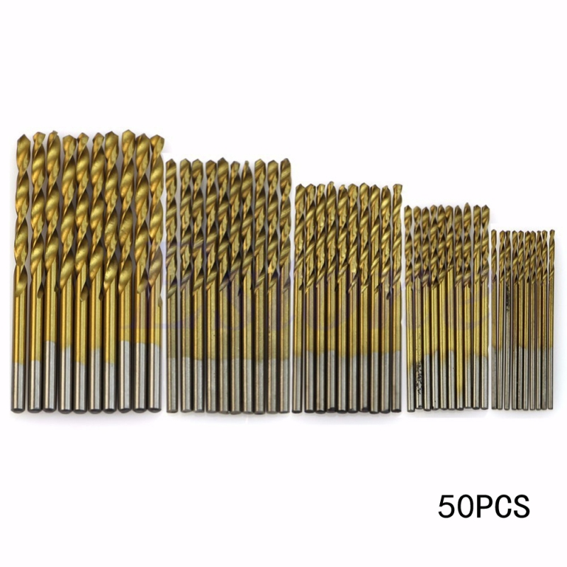 50 pcs / ensemble électrique Twist Drill Bit Set Titanium Coated HSS Saw Set 1 / 1.5 / 2 / 2.5 / 3mm Woodworking Metal Plastic Drill Bit Power Kit