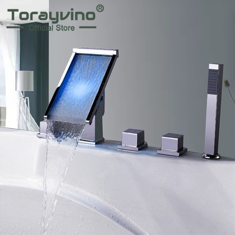 Bathtub Bathroom 5 Pcs Waterfall LED Spout Shower Faucet Brass Chrome Polish 3 Handles Mixer Taps With LED Waterfall Outlet