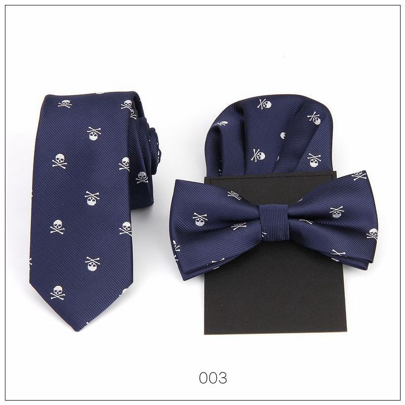 Tie Bow Tie Handkerchief Set Print Skull Hanky Pocket Square Polyester Bowknot Handkie Butterfly Wedding Red Black Blue 50sets
