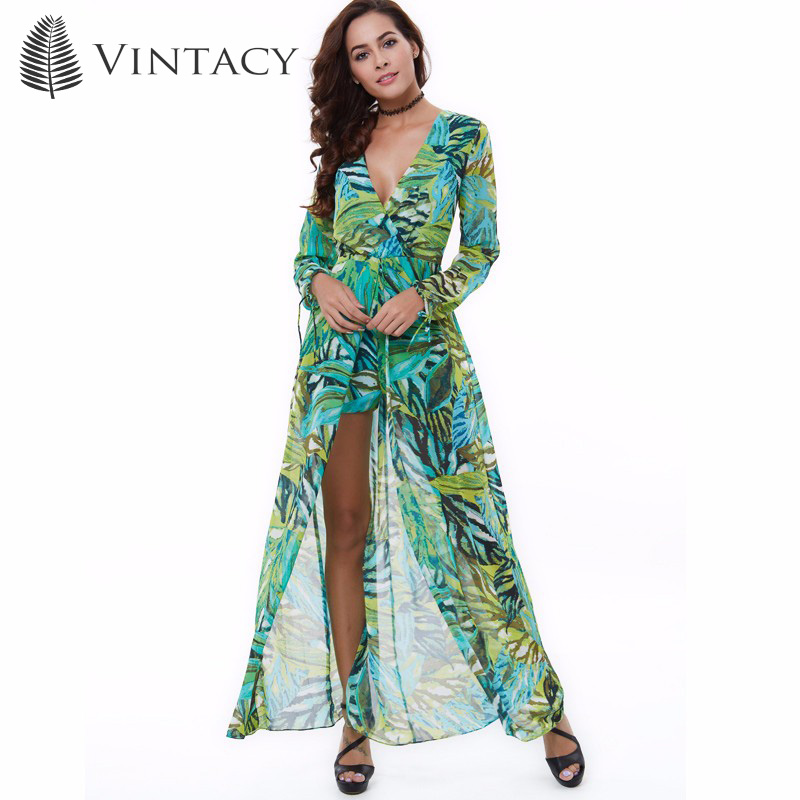 Vintacy 2018 Chiffon Women Summer Vacation Jumpsuits Floral Print Green Beach Overalls Rompers Long Sleeve Women Boho Jumpsuit