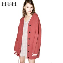 HYH Haoyihui Simple Autumn Casual College Style Striped Cuff Letters Embroidered Single Breasted Oversized Knit V-Neck Cardigans