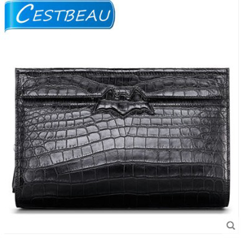 Cestbeau Nile alligator belly platinum zone makes envelope bags for men in leather hand