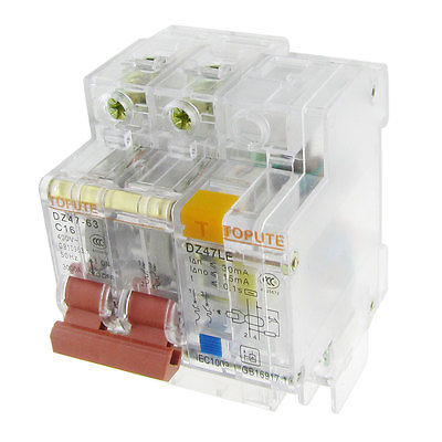 AC 400V 16A 2P Transparent Residual Current Circuit Breaker RCCB