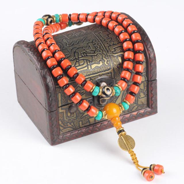 Ubeauty 8mm 108 pulsera de Coral Rojo con cuentas de Malaquita pulsera de Buda oración japa womenMeditation collar envío gratis