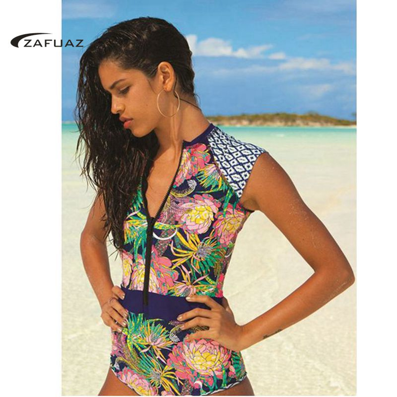 2019 New Sexy Women Floral Print One Piece Swimsuit Shorts Sleeve Swimwear Vintage High Neck Bathing Suit Zip Surf Swimming Suit