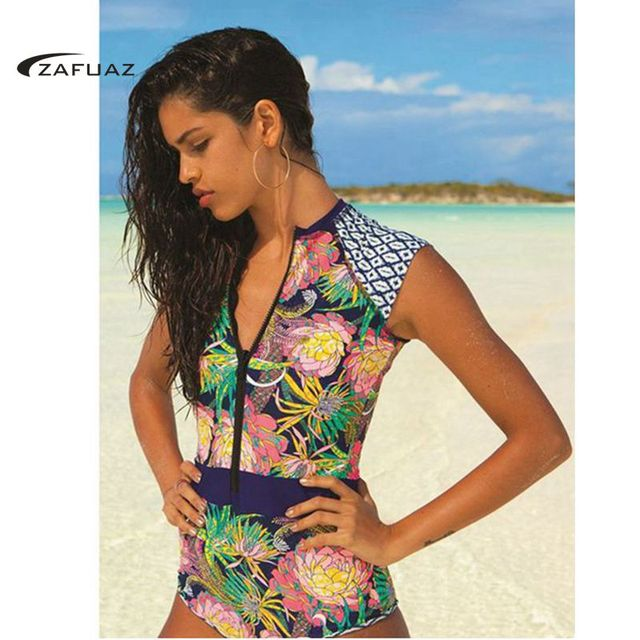 20bda049ab US $12.39 22% OFF|2019 New Sexy Women Floral Print One Piece Swimsuit  Shorts Sleeve Swimwear Vintage High Neck Bathing Suit Zip Surf Swimming  Suit-in ...