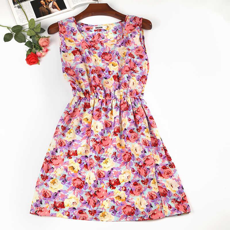 Летнее платье 2019 Полосатое цветочное богемное винтажное сексуальное плюс размер Повседневное Пляжное Платье женское элегантное мини без рукавов