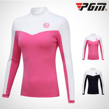 PGM thick fleece Golf t shirt Women for Winter Autumn Womens Sport O-Neck Warm undershirts female thin elastic Bottoming woman