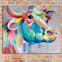 Hand Painted Palette Colorful Cow Canvas Paintings Abstract Animal Oil Painting Handmade Home Decor Wall Art