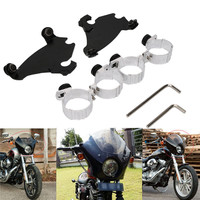 New 49MM Memphis Gauntlet Headlight Fairing Black Trigger Lock Mount Kit For Harley Dyna Street Sportster