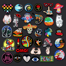 US $0.46 20% OFF|Skull Punk Cat Iron On Embroidered Patches For Clothing DIY Stripes Applique Clothes Stickers Iron On Patches Badges personality-in Patches from Home & Garden on Aliexpress.com | Alibaba Group