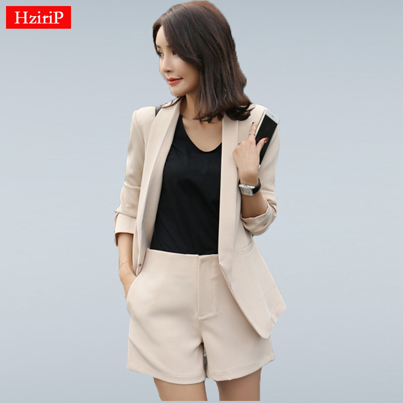 HziriP Work Wear Short Pants Suit Women Summer Autumn Long-sleeved Blazer with Shorts OL Office Ladies Formal Suits Navy Khaki girl