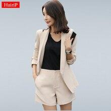 HziriP Work Wear Short Pants Suit Women Summer Autumn Long-sleeved Blazer with Shorts OL Office Ladies Formal Suits Navy Khaki