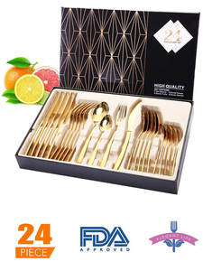 Tableware Spoons Cutlery-Set Dishes Forks Western Stainless-Steel Kitchen 24pcs Gold