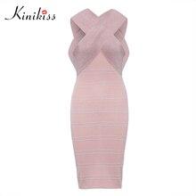 Kinikiss свитер для женщин платье 2018 осеннее платье розовый пэчворк в полоску ткани праздничное платье с открытой спиной вязаная мода облегающее платье