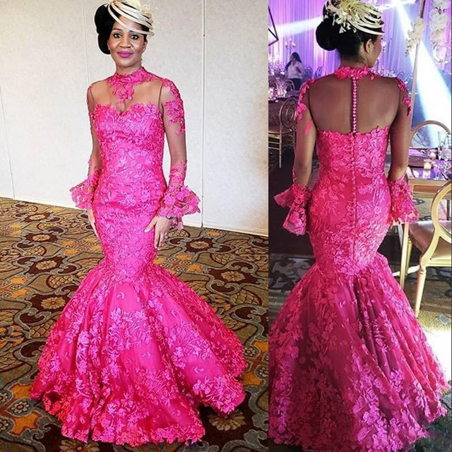 d53498e0a8 Aso Ebi Fuchsia Mermaid Evening Gowns 2019 High Neck Long Sleeves Appliques  Formal Prom Gowns Plus Size Mother of Bride Gowns