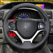 Shining wheat Hand-stitched Black Leather Steering Wheel Cover for Honda Civic 2012 -2014