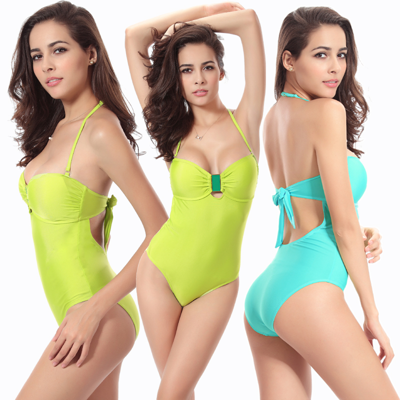 2017 Sexy Solid One piece Swimsuit Halter Backless Deep Padded one piece monokini swimsuit For Women Mesh swimwear  LTYY005 women solid one piece swimsuit halter backless bandage bodysuit monokini deep v neck sexy high waist vintage beach wear