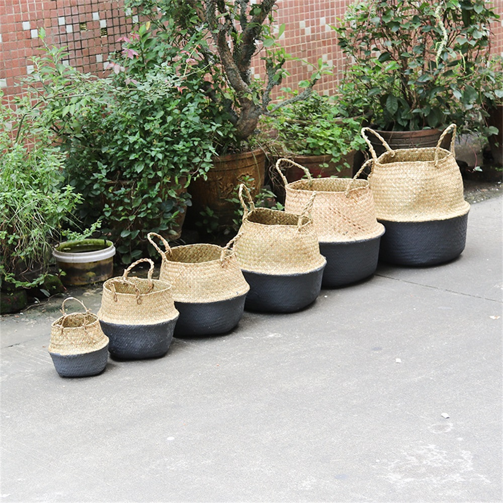 Household Foldable Natural Seagrass Woven Storage Baskets Garden Flower Vase Hanging Basket With Handle Storage Bellied Basket(China)
