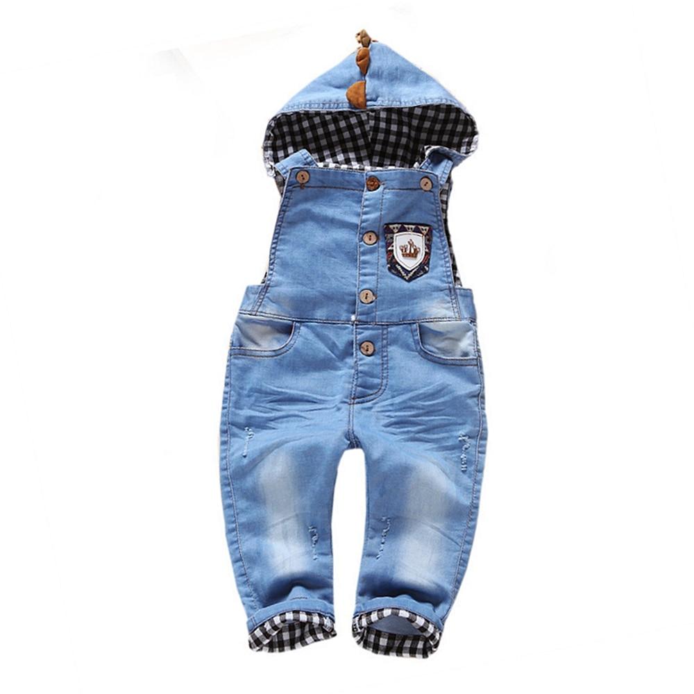 1T Bebe Jeans Overalls Girl Boys Clothing New Hooded Denim Cowboy Infant Boy Girls Bib Jeans Boy Children's Clothing 9m-3Years
