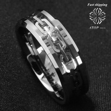NEW 8Mm 925 sliver men's jewerly chain center Tungsten Carbide Ring Wedding Band Free Shipping