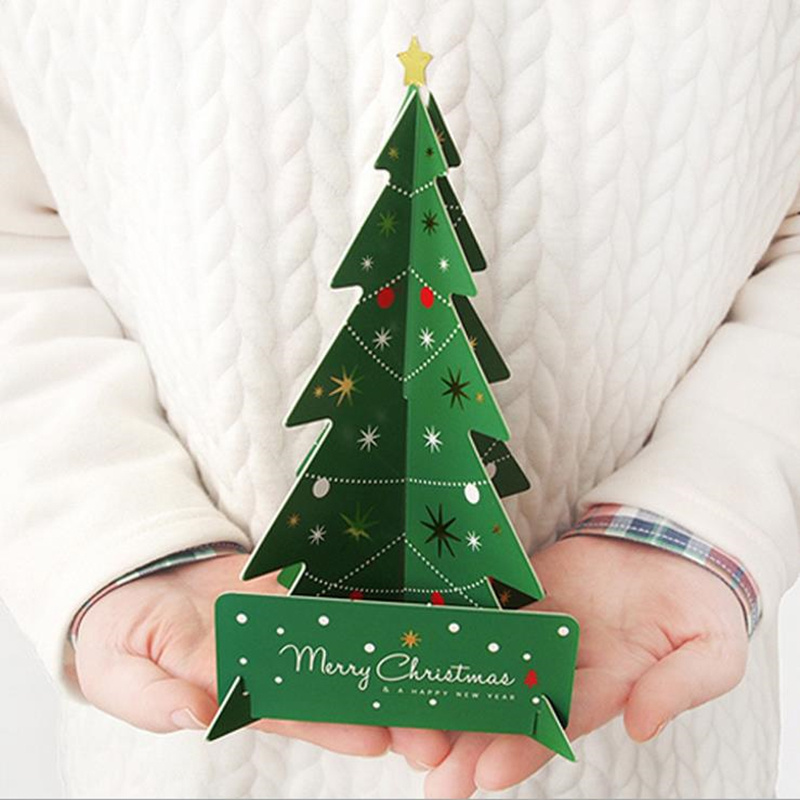 DoreenBeads 18.5x13.8cm Creative 3D Christmas Tree Cards Gifts Merry Christmas Xmas Blessing Card for New Year Gift Green / Red