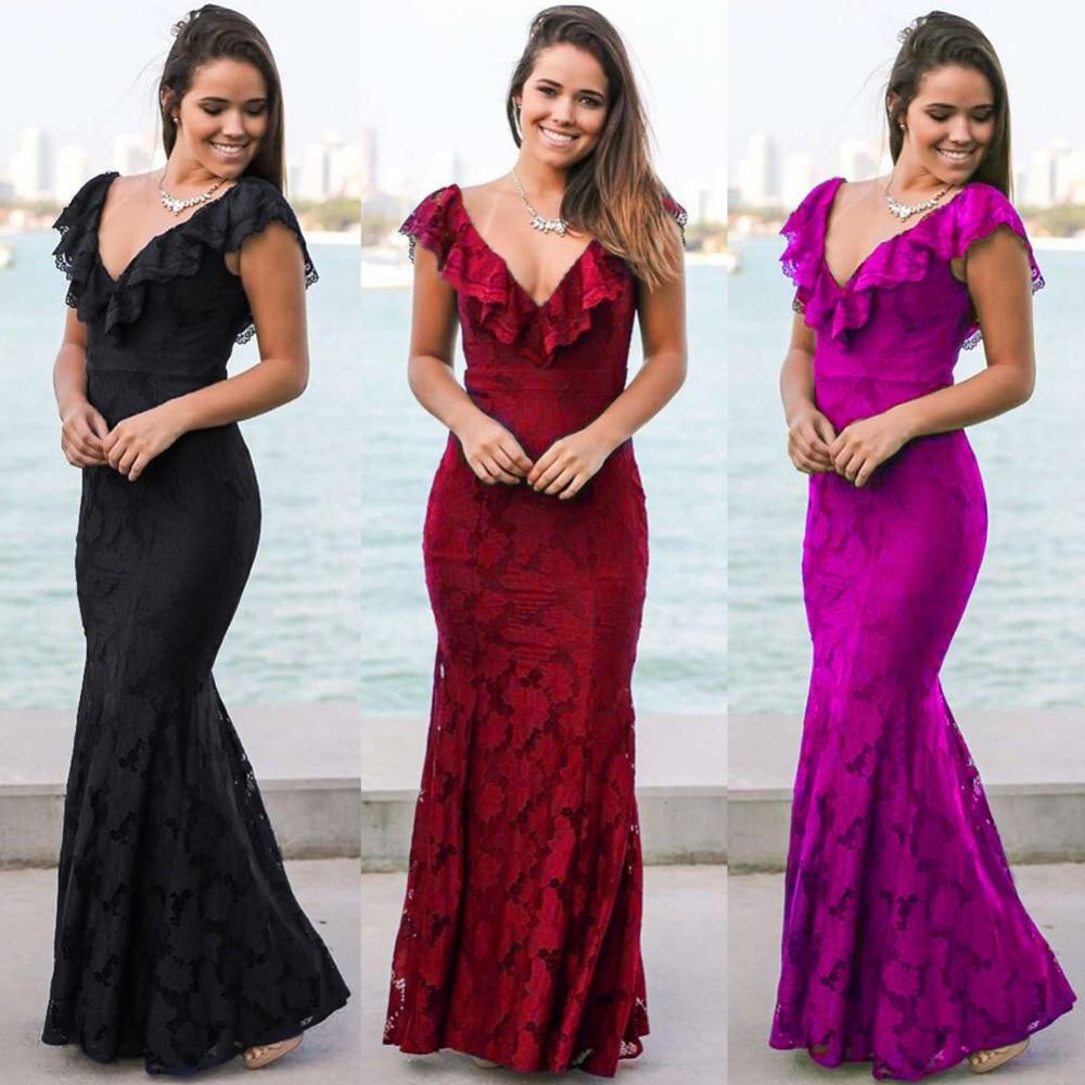 Women 2018 Summer Long Lace Dresses Party Robe Black Elegant Slim Ladies Bandage Casual Dress Evening Party Prom Vestidos Maxi
