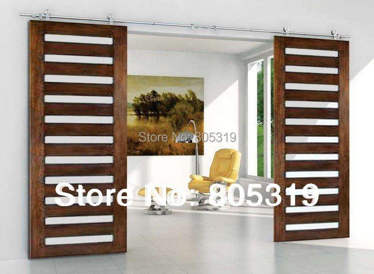8ft 10ft 12ft stainless steel sliding barn door hardware for 10 ft sliding door