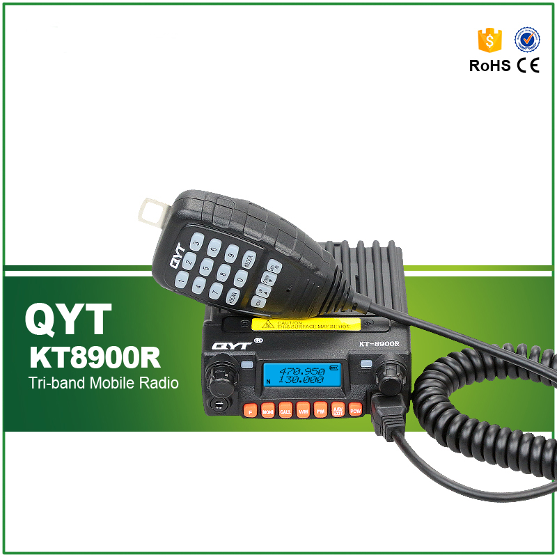 Hot Sell Tri Band 136-174/240-260/400-480MHZ 25W Mini Car Taxi Walkie Talkie QYT KT-8900R with Cable and Software