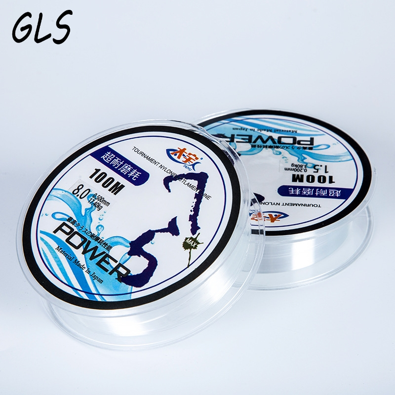 Super Strong pull 2.1kg-17.5kg 100m 100% Nylon Transparent Fluorocarbon Fishing Line Carp Fishing Line tackle nylon tråd