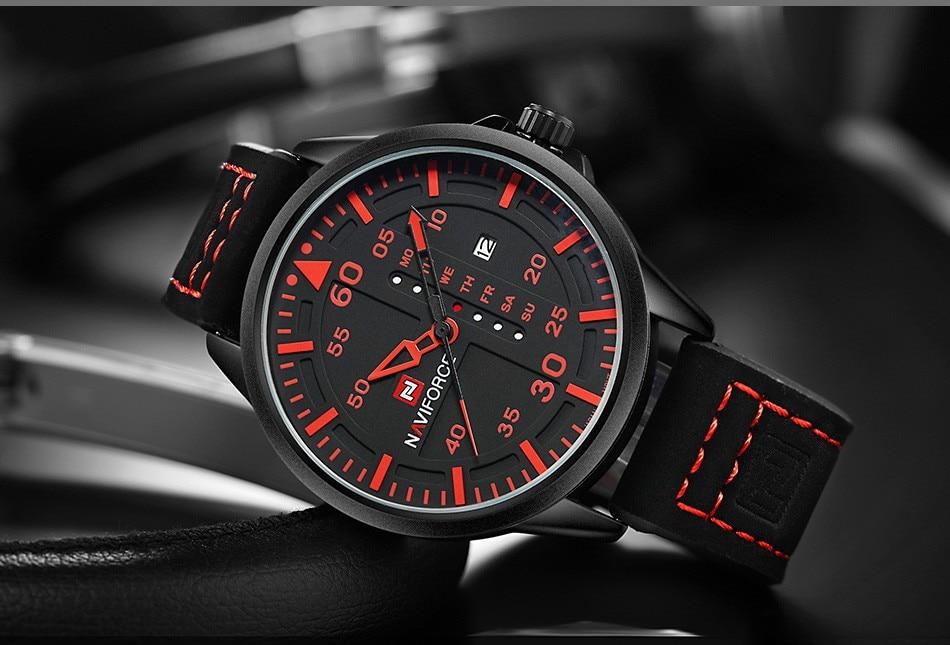NAVIFORCE Luxury Brand Men Army Military Watches Men's Quartz Date Clock Man Leather Strap Sports Wrist Watch Relogio Masculino