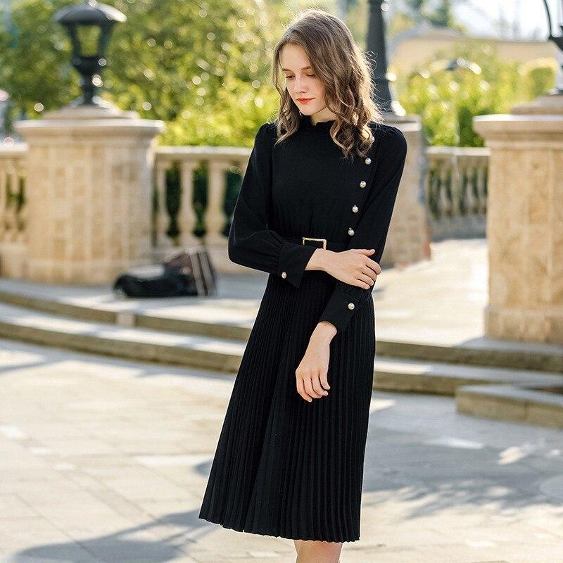 Automne Vêtements Manches Nouveau Longues Black Mode Qualité Col Perlée Noir Robes Casual Solide Plissée Dames Haute Femmes A6OwU