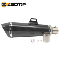 ZSDTRP 470mm Universal 51mm Motorcycle Exhaust Modified Carbon Muffler With DB Killer For Ninja250 Z300 R25