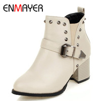 ENMAYER Rivets Charms Shoes Woman High Heels Round Toe Zippers Ankle Boots For Women Plus Size