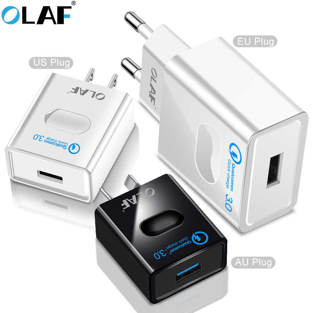 Olaf Quick Charge 3.0 Fast Charger EU/US/AU ปลั๊กโทรศัพท์มือถือสำหรับ Huawei qc 3.0 charger Wall USB Charger Adapter สำหรับ Xiaomi A2