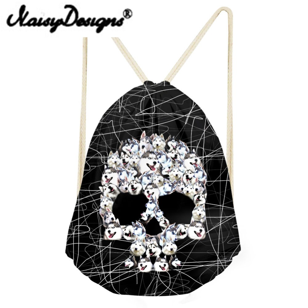 NOISYDESIGNS Cool Punk Skull Printing Men's Drawstring Backpack Tote String Shoulder For Teenagers Boys Harajuku Bags Mochila